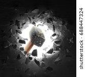 hammer hitting the wall causing ... | Shutterstock . vector #688447324