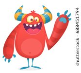 happy cool cartoon fat monster. ... | Shutterstock .eps vector #688451794