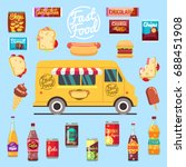 food truck with big set summer... | Shutterstock .eps vector #688451908
