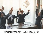 asia business people throwing... | Shutterstock . vector #688452910