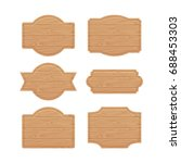 set of wooden sign boards for... | Shutterstock .eps vector #688453303