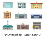 different municipal buildings.... | Shutterstock .eps vector #688453540