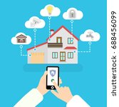 vector smart home. flat design... | Shutterstock .eps vector #688456099