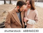 young happy loving couple... | Shutterstock . vector #688460230