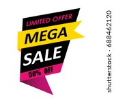 limited offer mega sale banner | Shutterstock . vector #688462120