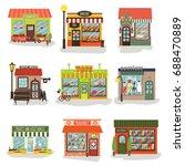 windmills of different shops...   Shutterstock .eps vector #688470889