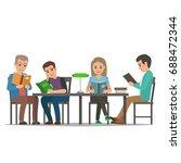 four characters  men and women  ... | Shutterstock .eps vector #688472344