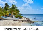very calm bay with turtle farm... | Shutterstock . vector #688473058