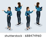 isometry is a business woman....   Shutterstock .eps vector #688474960