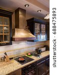big copper range hood  cooktop... | Shutterstock . vector #688475893