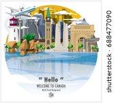 canada landmark travel and... | Shutterstock .eps vector #688477090
