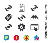 hands insurance icons. human...