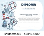 children's diploma for pre... | Shutterstock .eps vector #688484200