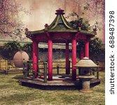 Oriental Garden With A Colorfu...