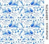abstract watercolor arctic... | Shutterstock . vector #688499296