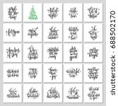 set of 25 hand lettering... | Shutterstock .eps vector #688502170