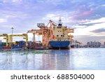 cargo freight ship and cargo... | Shutterstock . vector #688504000