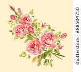 watercolor pink roses. vintage... | Shutterstock . vector #688504750