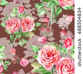 seamless watercolor pink roses... | Shutterstock . vector #688504834