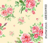 seamless watercolor pink roses... | Shutterstock . vector #688504900