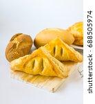 homemade breads or bun on white ... | Shutterstock . vector #688505974