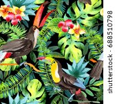 sky bird toucan pattern in a... | Shutterstock . vector #688510798