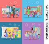 family shopping web banners set.... | Shutterstock . vector #688527493