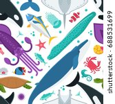 sea animals pattern with... | Shutterstock .eps vector #688531699