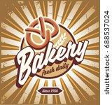 bakery sign with pretzel... | Shutterstock .eps vector #688537024