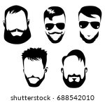 black and white portraits of... | Shutterstock .eps vector #688542010