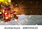 lantern with christmas... | Shutterstock . vector #688544620