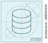 vector blueprint database icon... | Shutterstock .eps vector #688554334