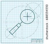 vector blueprint magnify plus... | Shutterstock .eps vector #688554550