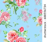 seamless watercolor pink roses... | Shutterstock . vector #688556734