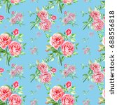 seamless watercolor pink roses... | Shutterstock . vector #688556818