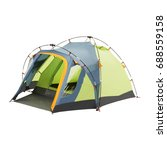 Small photo of Camping Tent Isolated on White Background. Green Dome Tent. Person Tent. Alpine Tent. Camping Equipment