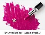 pink lipstick and lipstick... | Shutterstock . vector #688559860