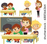 a classroom the student stands... | Shutterstock .eps vector #688566364