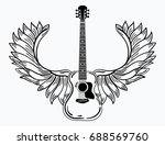 acoustic guitar with wings.... | Shutterstock .eps vector #688569760