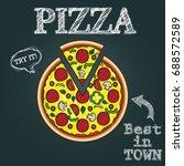 pizza vector illustration  hand ...   Shutterstock .eps vector #688572589