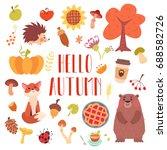hello autumn cute animals and... | Shutterstock .eps vector #688582726