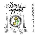 breakfast dish. fried eggs in a ... | Shutterstock .eps vector #688585210