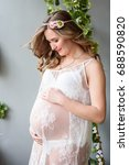 home cozy portrait of pregnant... | Shutterstock . vector #688590820