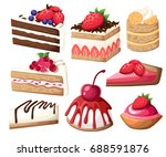 colorful sweet cakes slices... | Shutterstock .eps vector #688591876