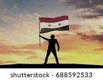 male silhouette figure waving...   Shutterstock . vector #688592533