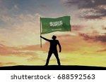 male silhouette figure waving...   Shutterstock . vector #688592563