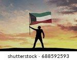 male silhouette figure waving...   Shutterstock . vector #688592593