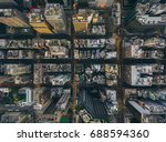 aerial view of hong kong city...   Shutterstock . vector #688594360