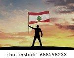 male silhouette figure waving...   Shutterstock . vector #688598233