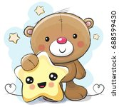 cute cartoon teddy bear with... | Shutterstock .eps vector #688599430